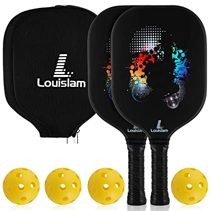 Louislam Pickleball Paddle Set of 2 Graphite Pickleball Racket Honeycomb Composite Core Ultra Cushion 4.25In Grip Pickleball Racquet 7.8 OZ with ...