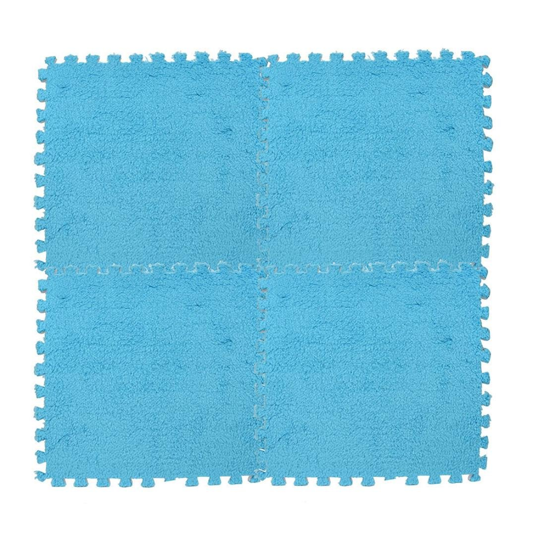 Sameno 3030cm Kids Carpet Peel and Stick Square Assorted Carpet Tile Foam Puzzle EVA Mat Shaggy Velvet Baby Eco Floor 7colors (Blue)