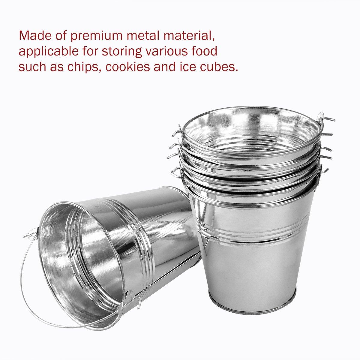 OUNONA Mini Metal Bucket Set of 6 /Mini Food Containers/Succulent Wedding Buckets 10.5x7.2x10.5cm by OUNONA (Image #3)