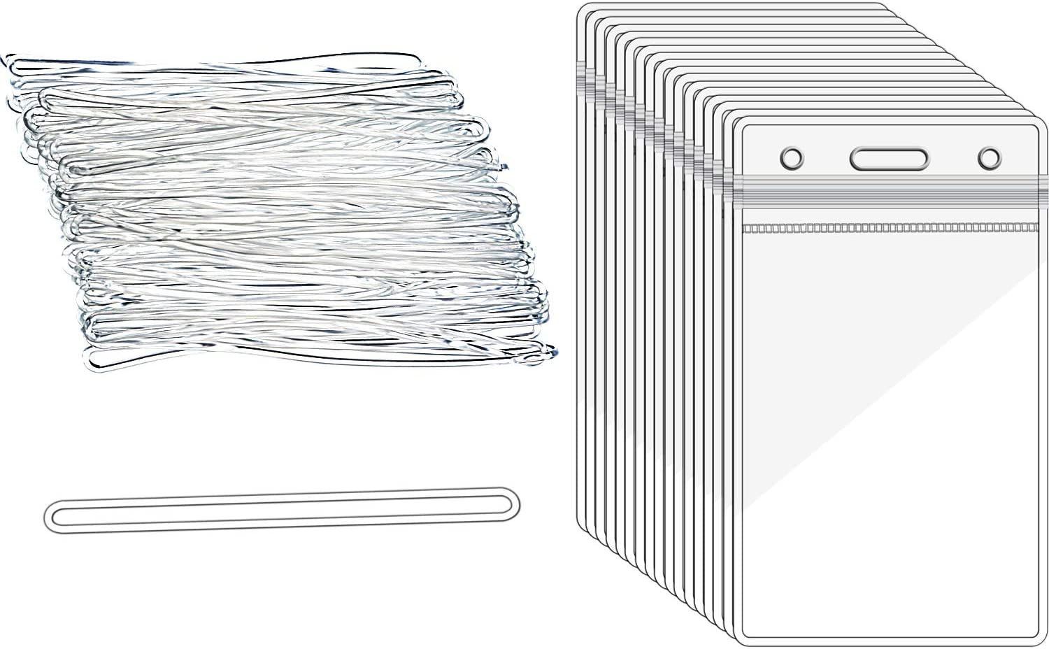 Outus 50 Pieces Clear Luggage Identification Tags ID Card Badge Holder and 50 Pieces Plastic Luggage Loops Travel Straps for Business Travel Supplies (11 x 6.5 cm)