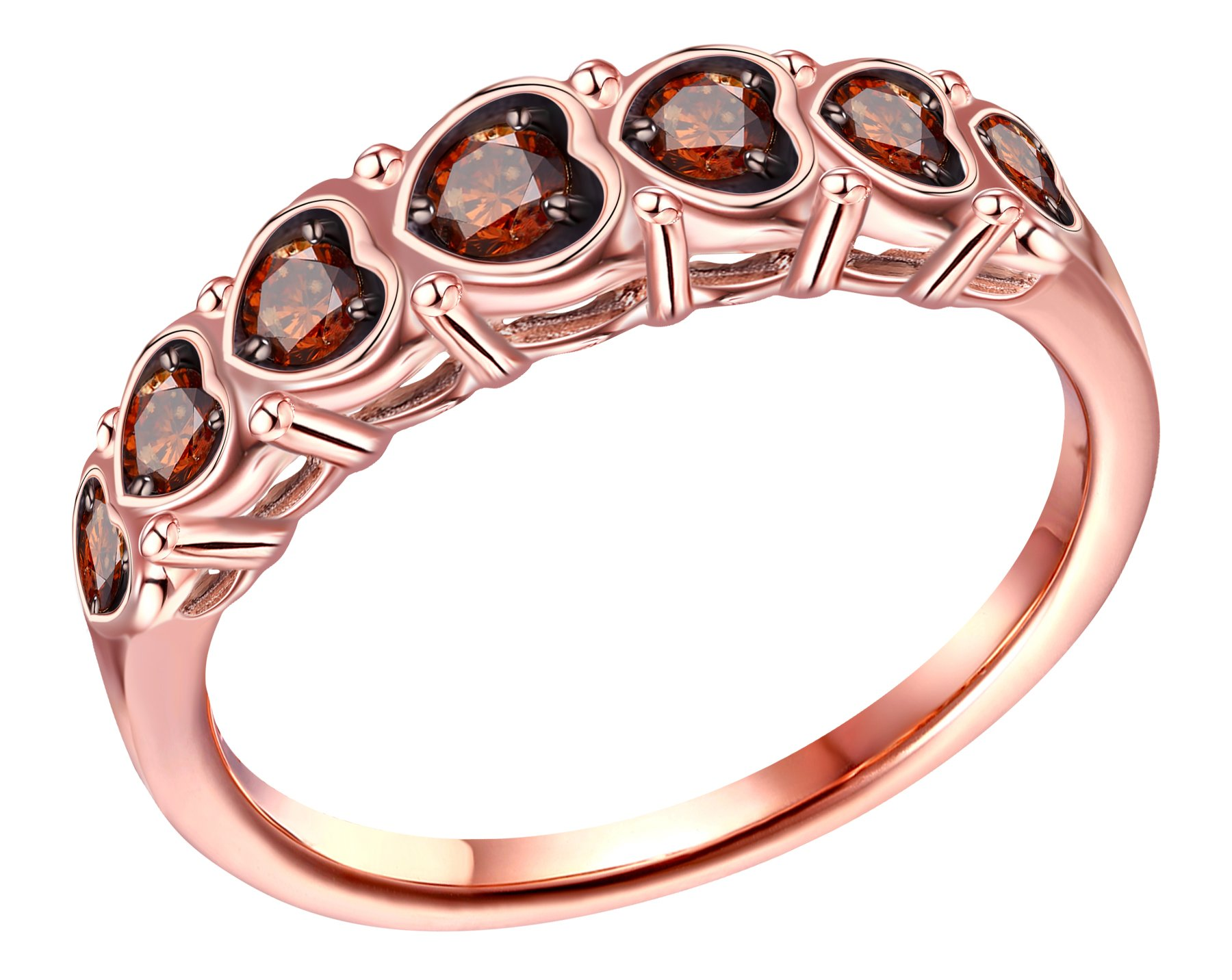 Prism Jewel 0.25 Carat Cognac Diamond Designer Anniversary Ring, Rose Gold Plated Silver, Size 6