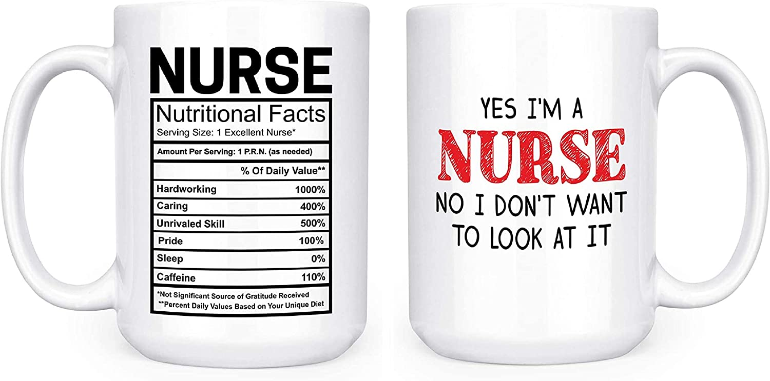Nurse Nutritional Facts Ingredients Label and Yes I'm A Nurse No I Don't Want To Look At It 15oz Deluxe Double-Sided Coffee Tea Mugs Set