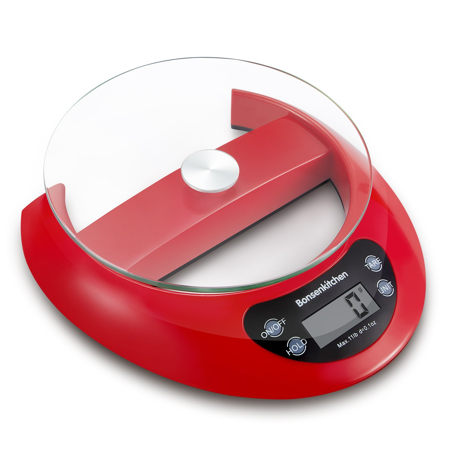 Bonsenkitchen Digital Sensitive Kitchen Food Scale for Cooking and Baking with Tare Function and Removal Glass Tray, 5kg 11lb, High Precision Sensor System, Red(KS8802)