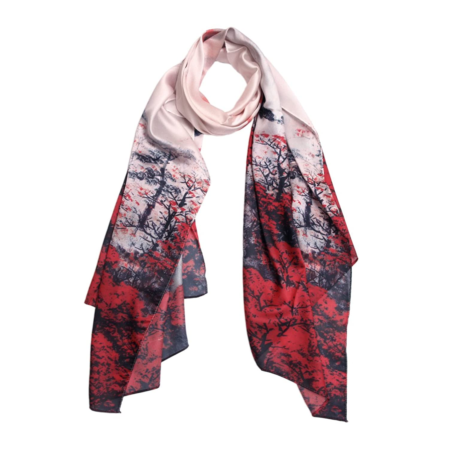 TrendsBlue Premium 100% Pure Silk Floral Scenery Painting Scarf Shawl Wrap