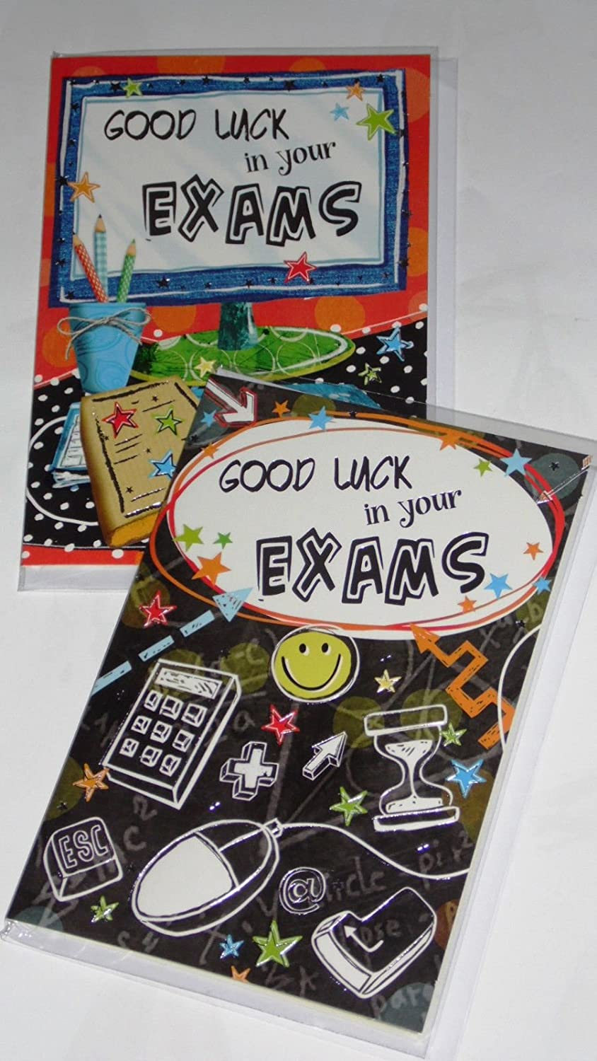 2 Good Luck Exams Cards 2 Designs X 1 Foiled-Wrapped