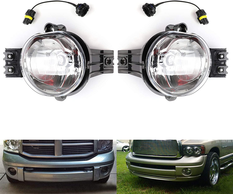 2002-2008 Dodge Ram 1500 2500 3500 Pickup Clear Bumper Driving Fog Lights Kit