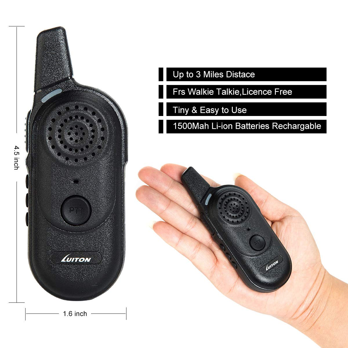 Kids Walkie Talkies,Rechargable Mini Walky Outdoor Toys - Best Gifts for Boys Girls Birthday UHF FRS/Gmrs Two Way Radio 16 Channels Outdoor Camping Long Range 3 Miles Licence Free (Pair) by LUITON by LUITON (Image #2)