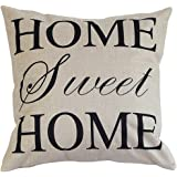 "Onker Cotton Linen Square Decorative Throw Pillow Case Cushion Cover 18"" x 18"" Home Sweet Home Love in Simple Words"