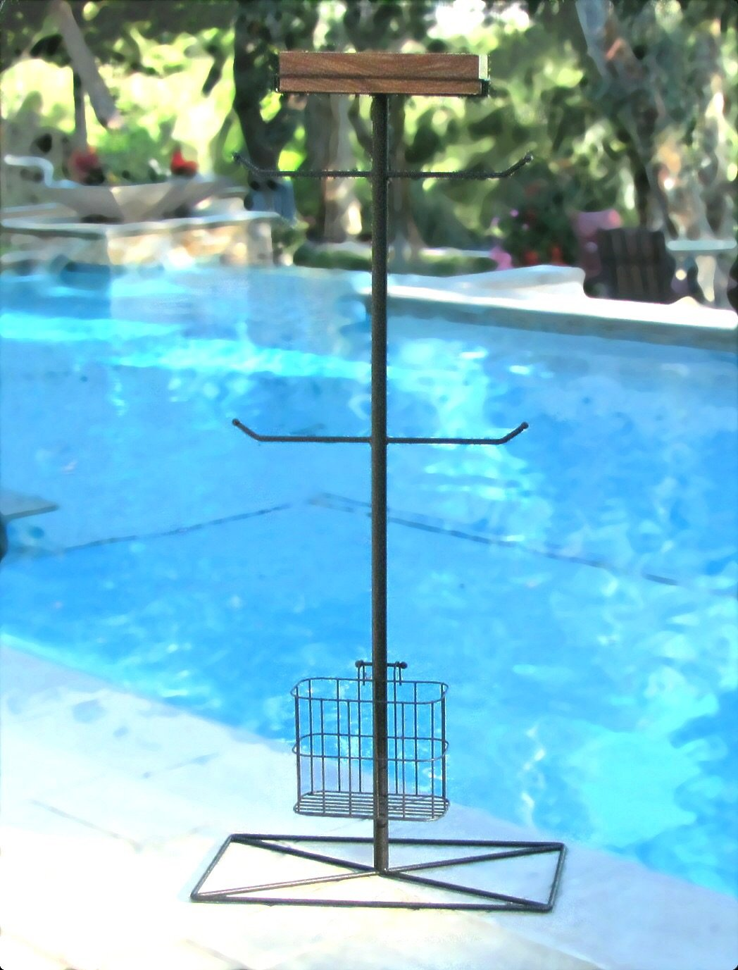 Tall Bronze Pool Towel Stand with Wooden Shelf & Wire Basket, Heavy ...