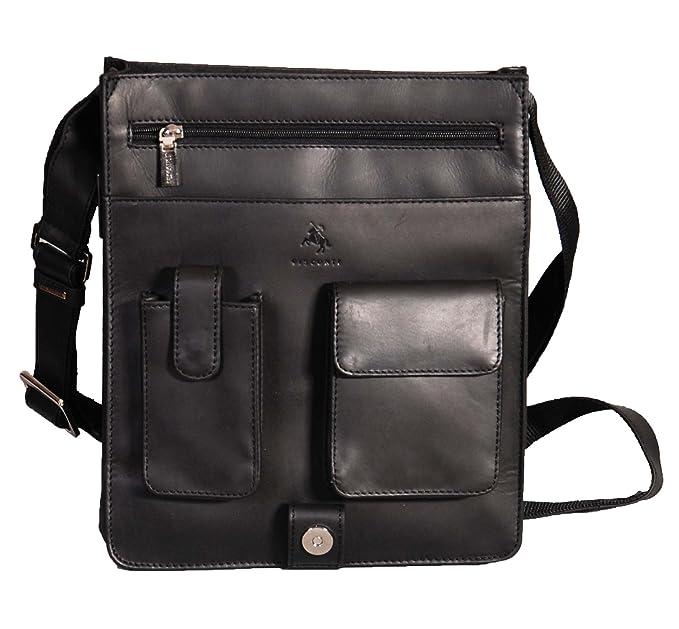 Gents Leather Bag Messenger Shoulder Cross Body ipad Record News Boy Man  Bag A41 Black: Amazon.co.uk: Clothing
