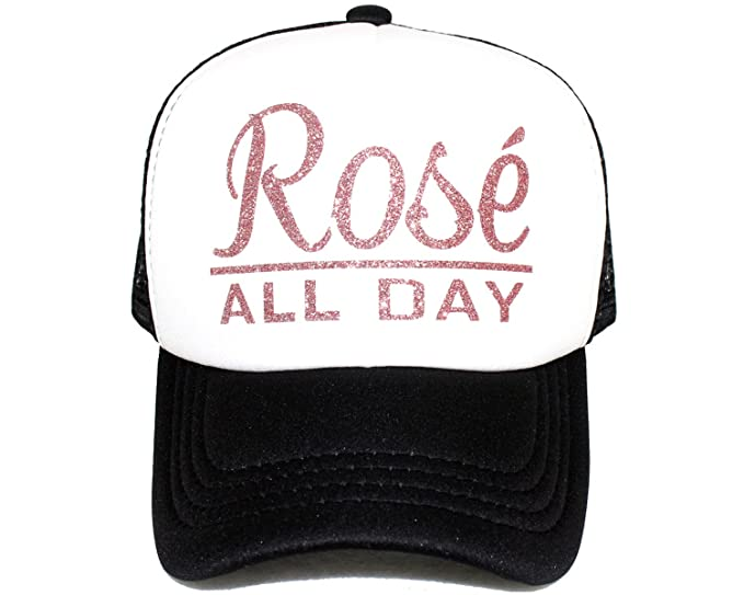 Amazon.com  High Limit Rosé All Day Rose Gold White Trucker Hat with Rose  Gold Glitter Lettering Accessories  Clothing 72c705ba1225