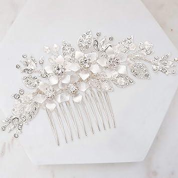 5d909a5e2b SWEETV Silver Wedding Hair Comb Rhinestone Hair Clip-Flower Hair Comb  Handmade Bridal Hair...