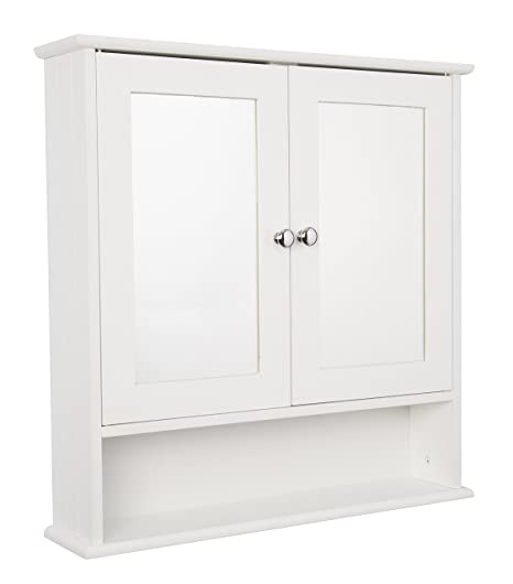 croydex anderson double door mirror white wooden cabinet with fixed rh amazon co uk