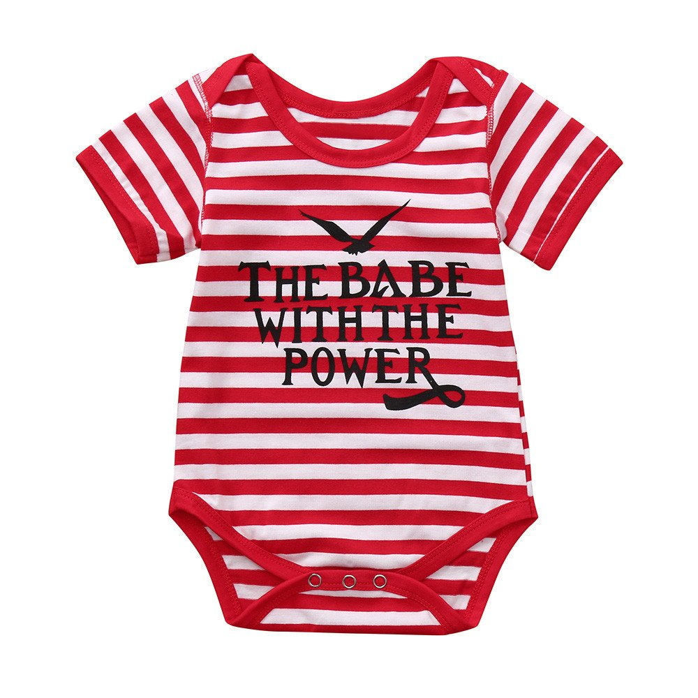 Byste Infant Unisex Red and White Striped Rompers Short Sleeve O-Neck Eagle Letter Print Bodysuit Cotton Elastic Summer Casual Princess Outfit One Piece for Baby Boys & Girls(6M-24M)