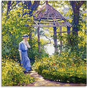 YINGM Art Poster Guy Rose - Girl in A Wickford Garden Canvas Art Poster and Wall Art Picture Print Modern Family Bedroom Decor Posters 20x20inch(50x50cm)
