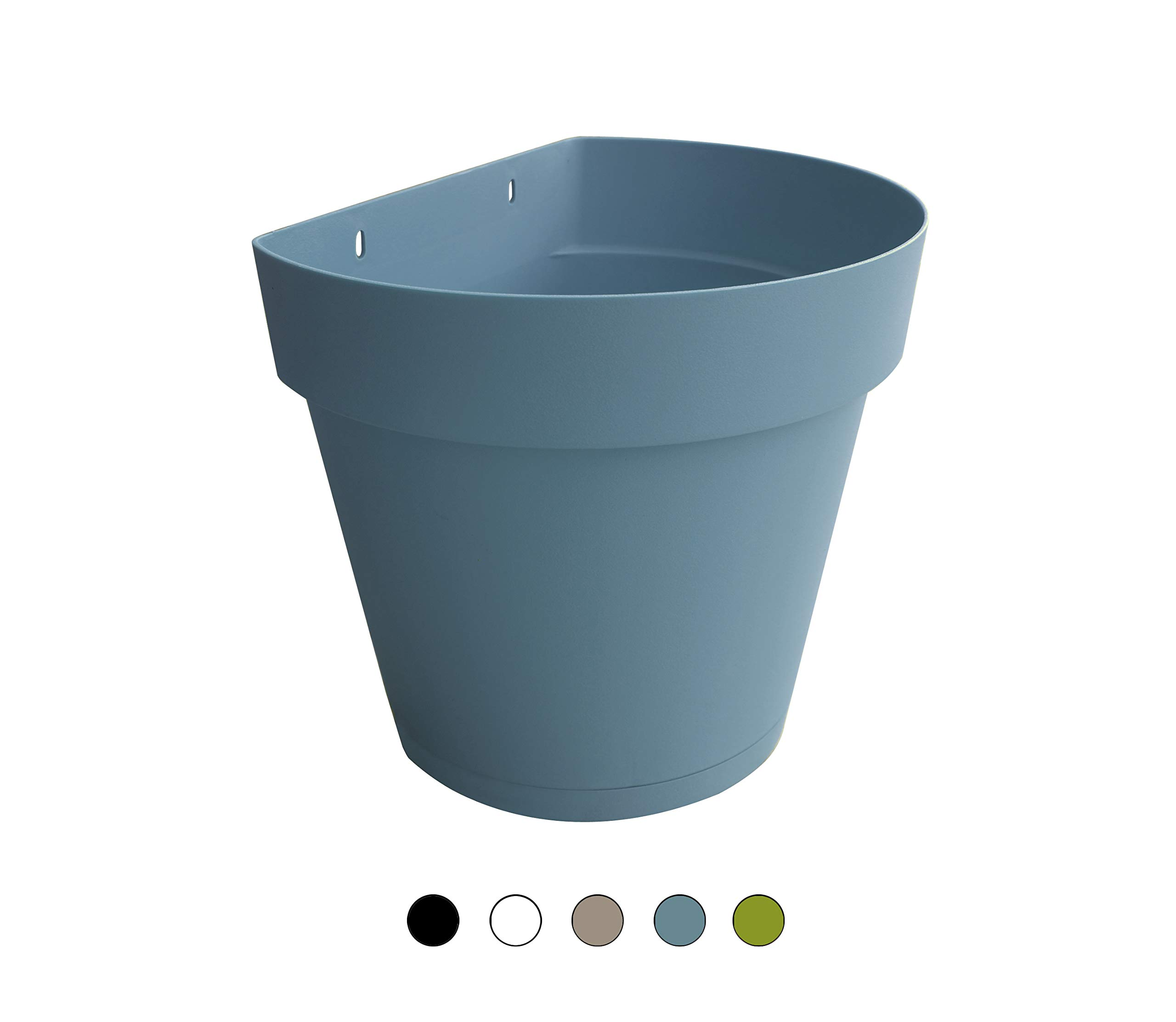 TABOR TOOLS Plastic Wall Planter Pot for Vertical Flower Garden, Living Wall or Kitchen Herbs, with Attached Saucer (8.5'', Pastel Blue- VEM605A)