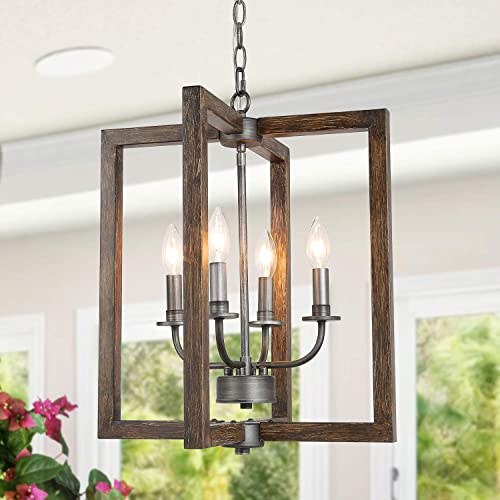 KSANA Farmhouse Foyer Lighting, Faux-Wood Pendant Chandeliers for Dining Rooms, 4-Light Kitchen Island Light Fixtures