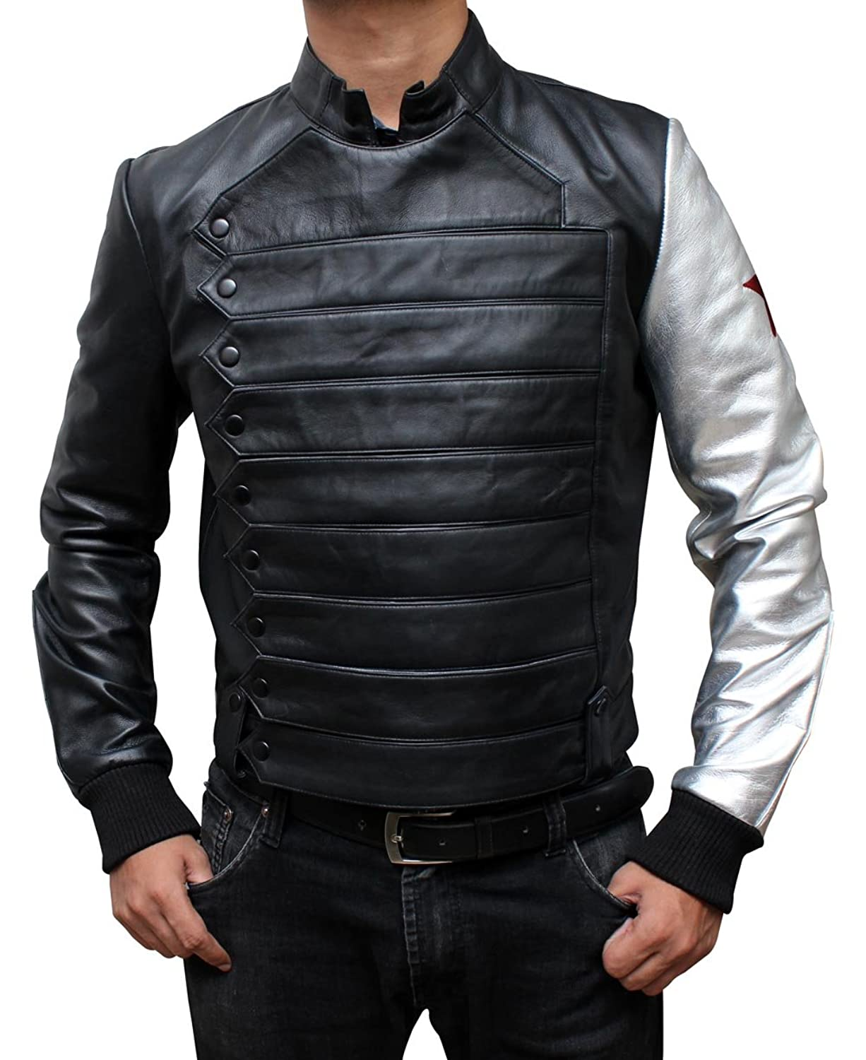 Adult Bucky Barnes Faux Leather Silver Sleeve Jacket - DeluxeAdultCostumes.com