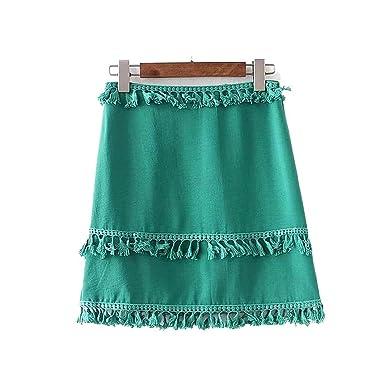 c64df333bea9 MRxcff Women Sweet Tassel Patchwork Skirt Side Zipper Cute Ladies Pink  Green Summer Casual Wear Mini Skirts at Amazon Women's Clothing store: