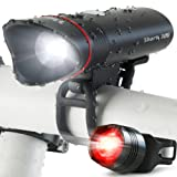 SUPER BRIGHT USB Rechargeable Bike Light- Cycle Torch Shark 300 Bicycle HeadLight- TAIL LIGHT Included- 300 Lumens LED Front Light, Fits ALL Bikes, Quick Release Flashlight Set (Black)