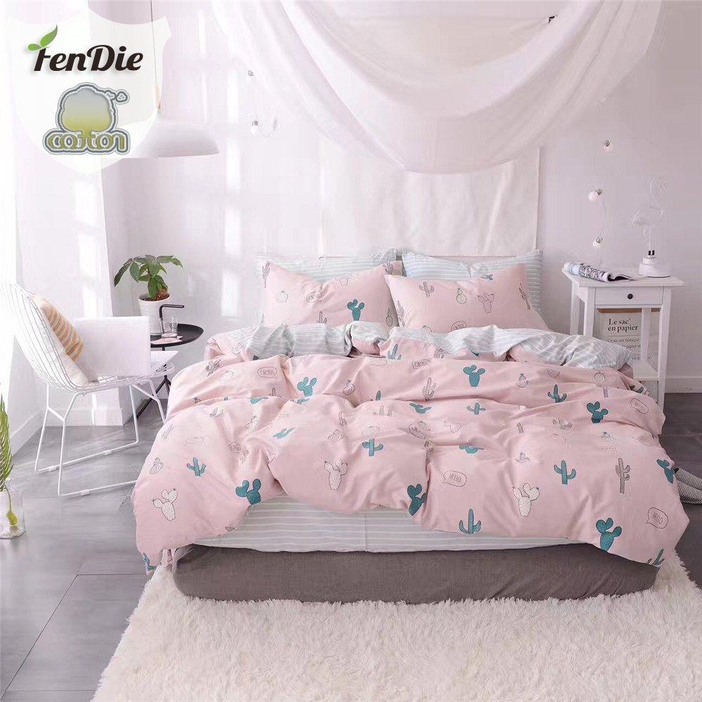 FenDie Pink Girls Duvet Cover Set Twin Kids Bed Cover Sets No Comforter, Zipper Closure, Reversible Striped Pattern