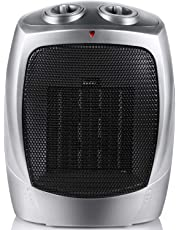 Moonflor Space Heater Electric Heater Portable Ceramic Heater with Adjustable Thermostat and Overheat Protection ETL Listed for Home Office Kitchen Bedroom and Dorm, 750/1500 Watt