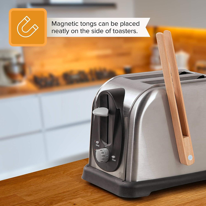 pasticcini friggere e per Cucinare insalate Pinze di Legno da Cucina pinze per Toast Clip per Toast con Magnete Integrato Confezione da 2 Ideali per Grigliare Pane e delizie Dolci