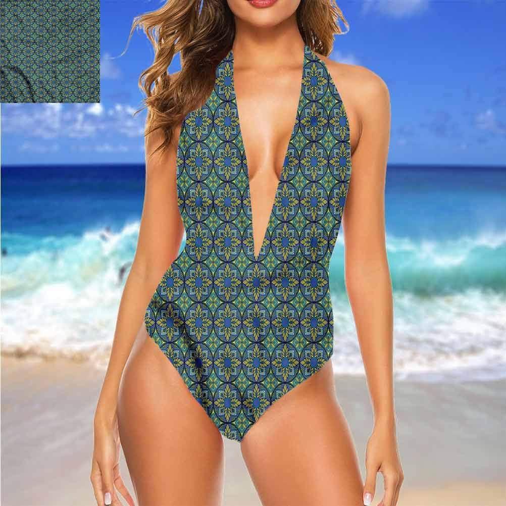 Adorise Maillot de bain de plage vintage, brins de feuilles et baies extensibles et robustes Multi 22