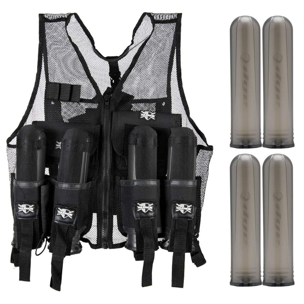 Action Village Tactical Warrior Paintball Vest - Adjustable Light Weight Version Holds 4 Pods & 1 Tank (Vest with 4 Smoke Dye Pods) by Action Village
