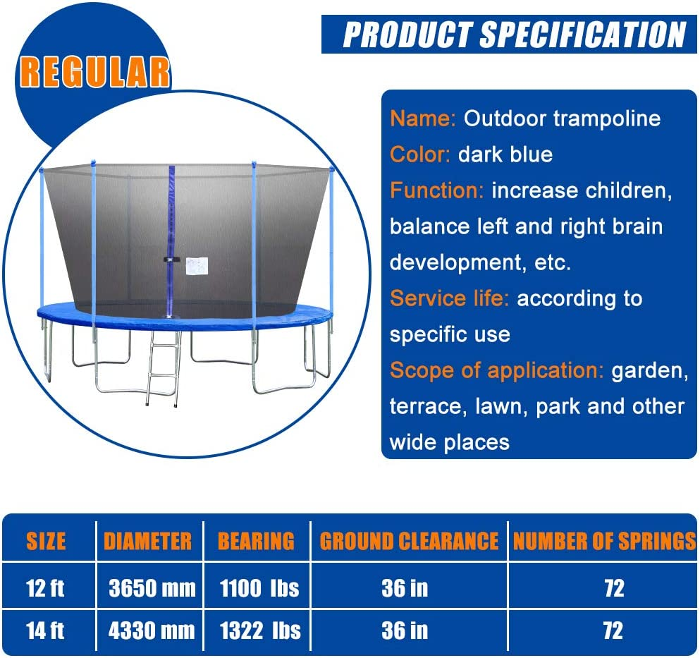 OffiClever Trampoline Round Jumping Table with Safety Enclosure Net Sping Pad Combo Bounding Bed Trampoline Fitness Equipment
