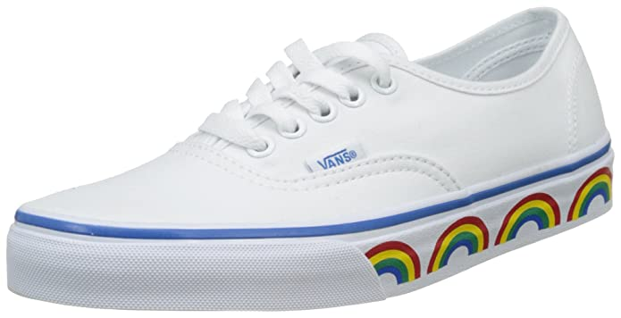 Vans Authentic Sneakers Damen Weiß mit Regenbogen Sidewall (Rainbow Tape)