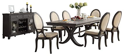 Lessington Rustic Country 10PC Dining Set Table, 2 Arm, 6 Six Side Chair,