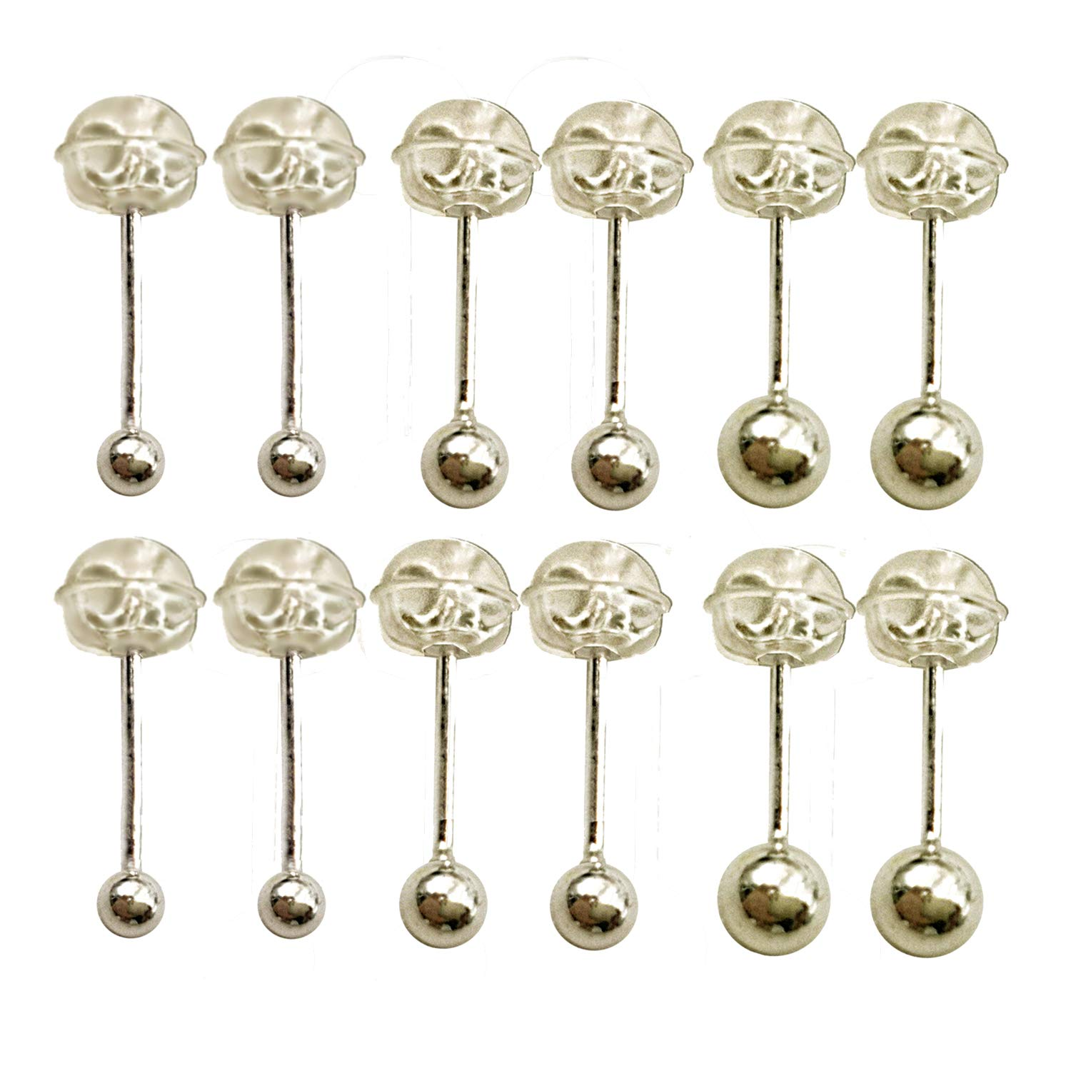 Sinya Unisex Sterling Silver 2-6mm Round Ball Stud piercings Earrings for Men Women SYSEB2.0-s925