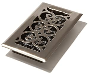 Decor Grates SPH408-NKL 4-Inch by 8-Inch Scroll Floor Register, Brushed Nickel