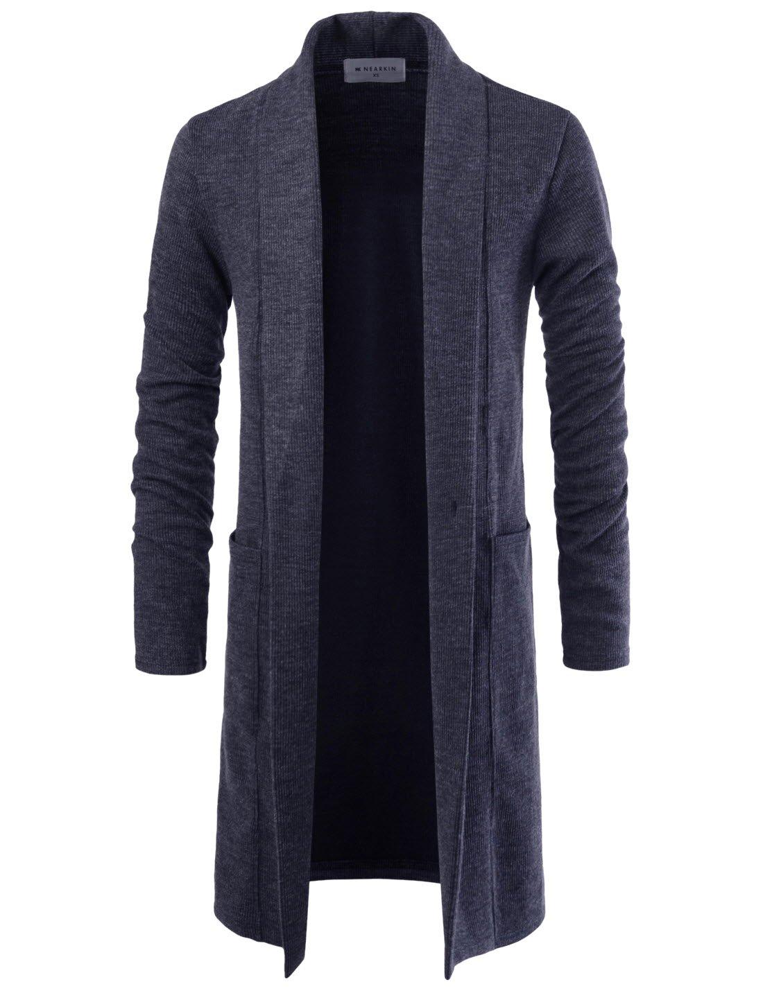 NEARKIN NKNKTNC803 Mens Slim Cut Look Knitwear Shawl Collar Long Cardigan Sweater Charcoal US S(Tag Size S)