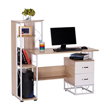 check out 195d4 5a034 HOMCOM Computer Writing Desk PC Workstation w/2 Drawers Multi-Shelves Home  Office Furniture