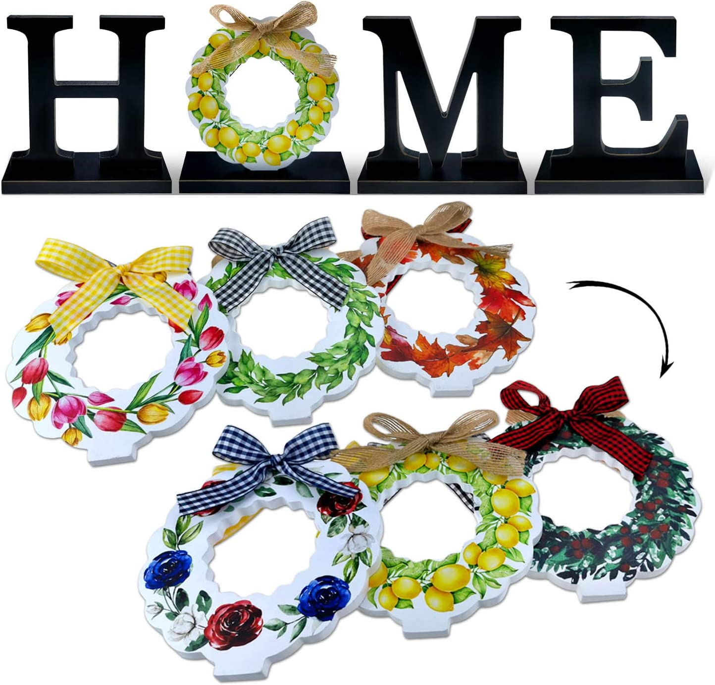 Winder Rustic Home Decor Home Sweet Home Sign with 3-PC Wreath Decorative Wooden Letters with 2-Side Seasonal Interchangeable Holiday for Spring Easter Lemon Summer 4th of July Shelf Decor 6''H x 6''W