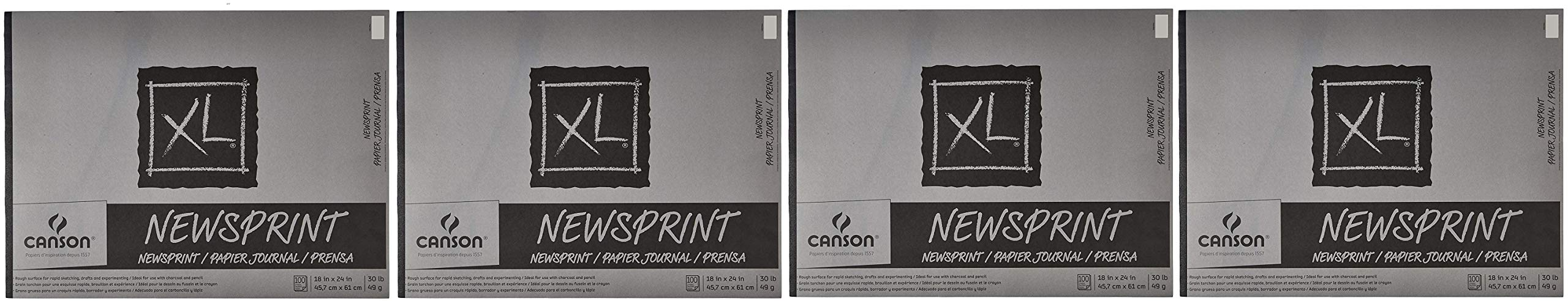 Canson Biggie Newsprint Pad - 18 x 24 Inches - 100 Sheet Pad (4-(Pack))