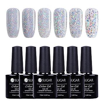 Amazon.com : UR SUGAR 7.5ml Holographic Gel Nail Polish Soak Off UV ...