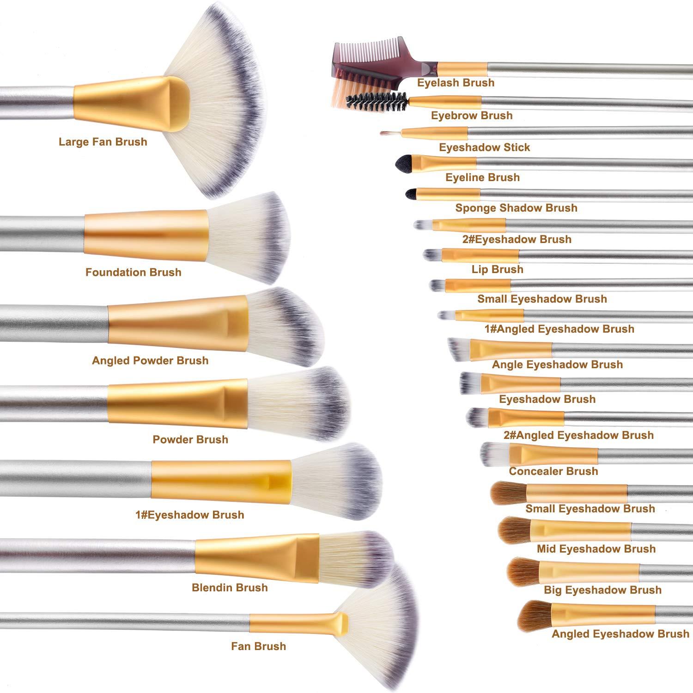 Make up Brushes, VANDER LIFE 24pcs Premium Cosmetic Makeup Brush Set for Foundation Blending Blush Concealer Eye Shadow, Cruelty-Free Synthetic Fiber Bristles, Travel Makeup bag Included, Champagne