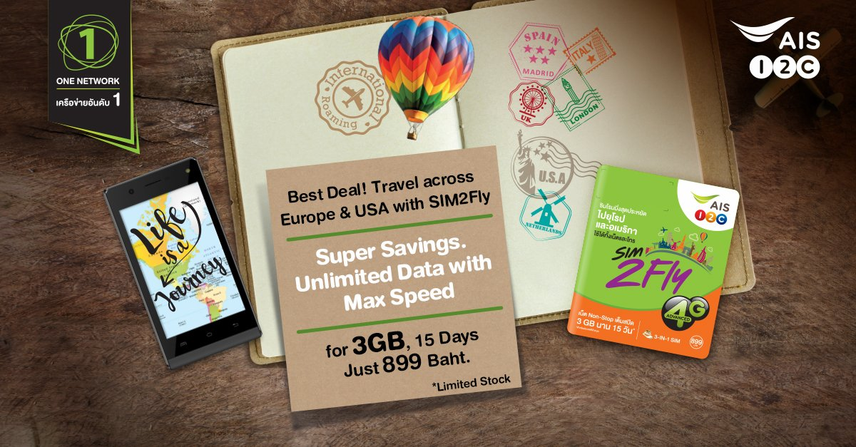 AIS Unlimited SIM -Non-Stop Roaming for 15 Days 3G/4G in Europe, Asia, Middle East, U.S., Canada