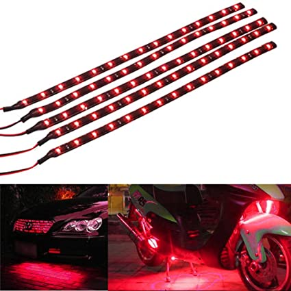 Waterproof 30cm 15 LED Car Lighting Flexible Decorative Light Strip Bar Red