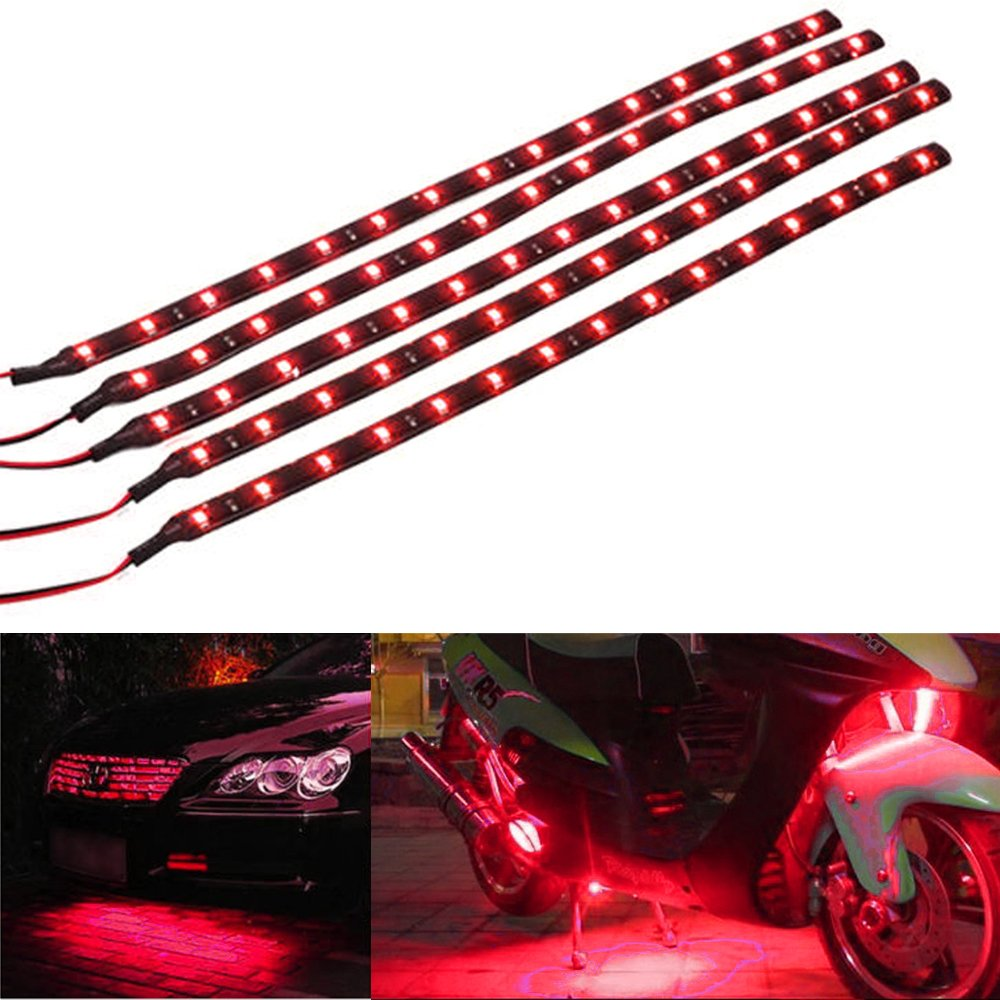 Mintice™ 5 X Red 12V 15 Led 30cm Car Auto Vehicle Grille Flexible Waterproof Underbody Light Strip