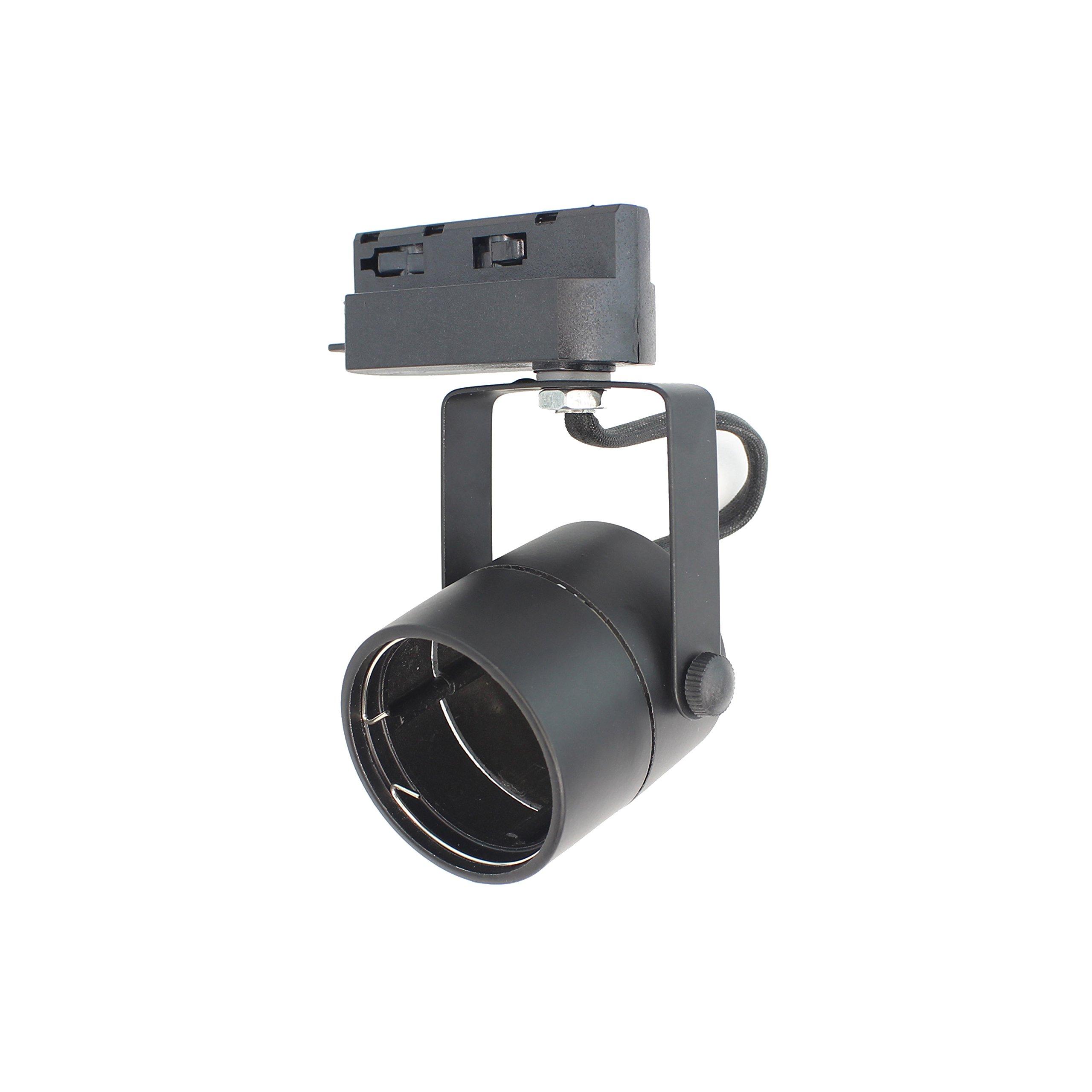 J.LUMI TRK9610 GU10 Line Voltage Track Light Head, 120V AC, Black Finish, Compatible track rail RAL3002, BULB NOT INCLUDED