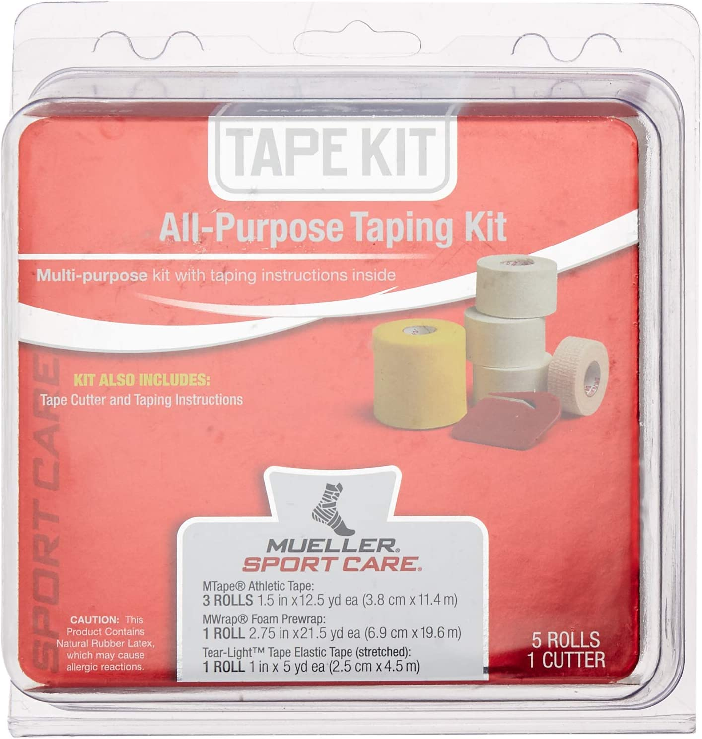Mueller All-Purpose Taping Kit | Includes 3 Rolls Athletic Tape, 1 Roll Foam Prewrap, 1 Roll Tear-Light Tape, 1 Tape Cutter: Health & Personal Care