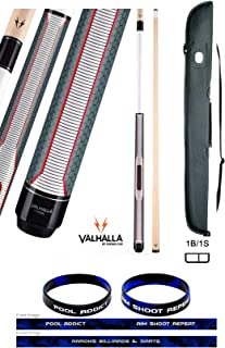 product image for Valhalla VA461 by Viking 2 Piece Pool Cue Stick, HD Graphic Transfers, Nickel Silver Rings, Ultra Opaque White, High Impact Ferrule, 18-21 oz. Plus Cue Case & Bracelet (VA461, 18)