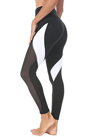 82e3ccb563fb39 Queenie Ke Women Yoga Pants Color Blocking Mesh Workout Running Leggings  Tights Size XS Color Black
