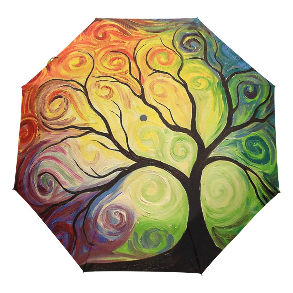 Wamika Rainbow Tree of Life Auto Umbrella Open Close Oil Painting Art Anti-UV Umbrellas Compact Windproof Lightweight Parasol Umbrella for Travel Car School Sun Rain