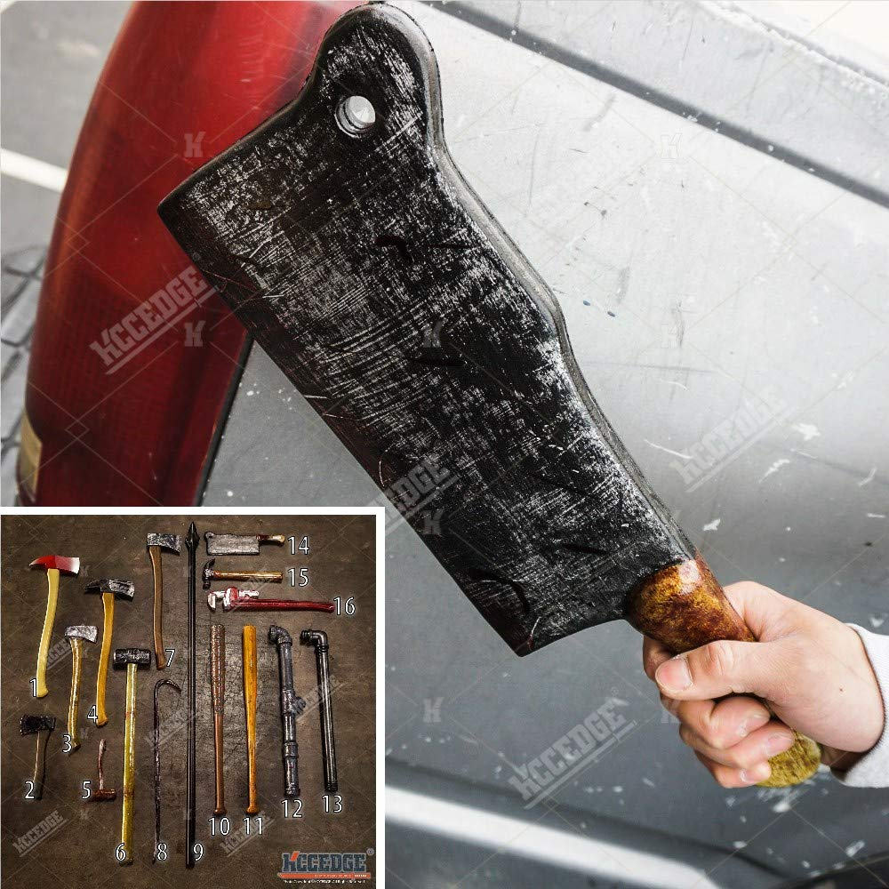 Halloween Props FOAM Sword Axe Bat Crowbar Hatchet Knife Hammer Wrench Sledgehammer Medieval Sword Roman Sword Spartan Sword For Halloween Costume Cosplay LARP Home Decor 52883 (15'' Butcher Knife) by KCCEDGE BEST CUTLERY SOURCE