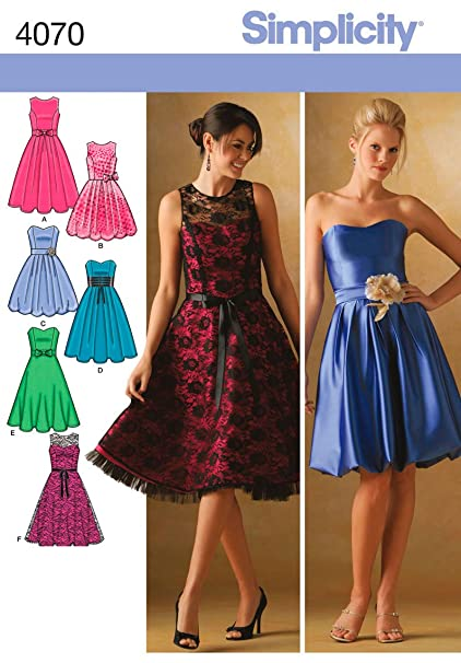 Simplicity Pattern 4070 Misses Dresses with Bodice and Skirt Variations Sizes 12-14-16